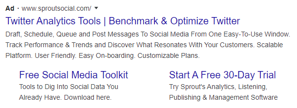 google ad result for twitter analytics tools